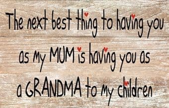 The Next Best Thing to Having You As My Mum Message Plaque