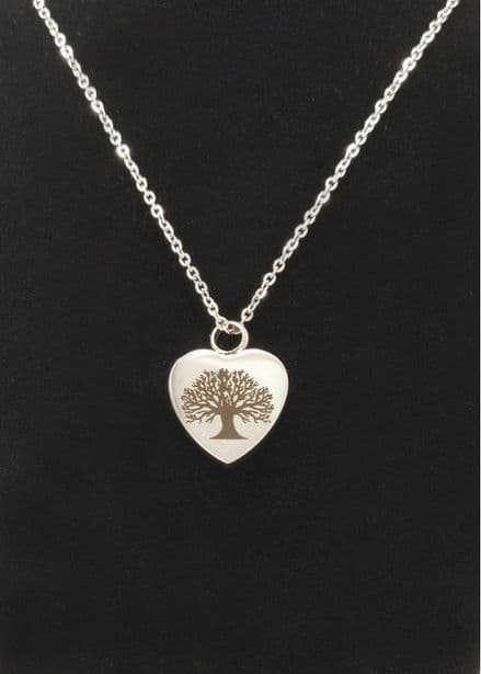 Tree Of Life Heart Cremation Necklace