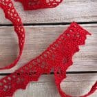 15mm Pointed Edge Red Cotton Lace NEW!