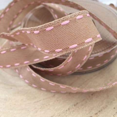 50% OFF Pink Shabby Chic Stitched Ribbon 16mm