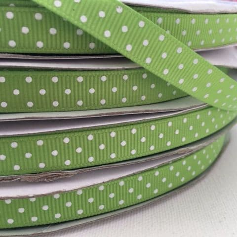 50% FREE Grosgrain Lime Green & White Polka Dot Ribbon 9mm