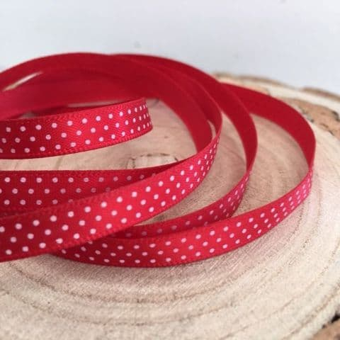 50% Free Red & White  6mm Satin Mini Polka Dot  Ribbon