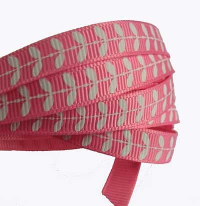 50% OFF Pink Grosgrain Ribbon with White leaves 9mm