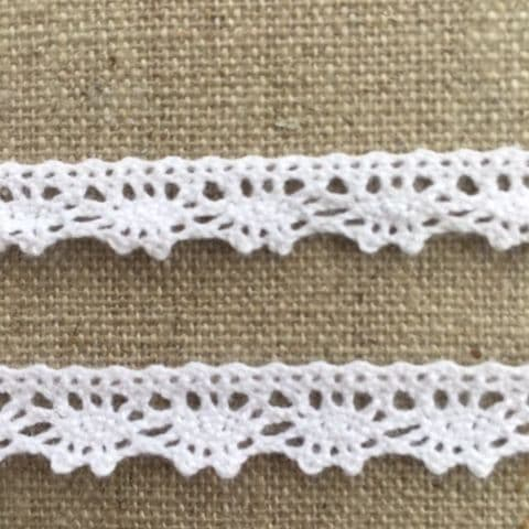9mm Scalloped Edge White  Cotton Lace