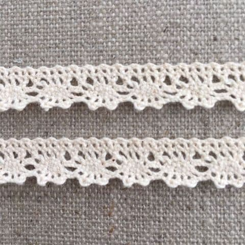 9mm Scalloped Natural Cream  Cotton Lace