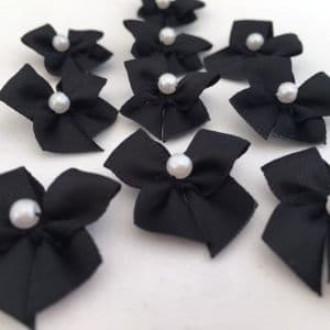 Black Satin Bow with Pearl
