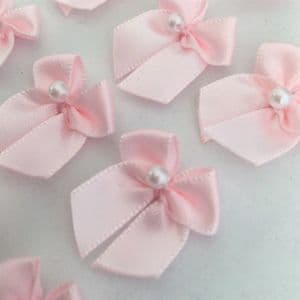 Pale Pink Satin Bow with Pearl