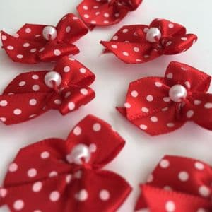 Red & White Satin Polka Dot Bow with Pearl