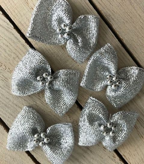 SALE Bow Tie Shape Silver Pearl Bows New