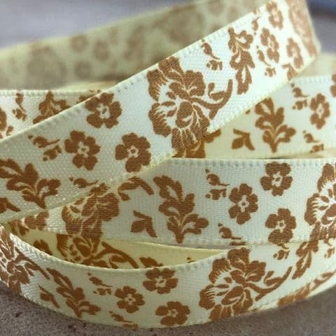 SALE Yellow/ Old Gold Satin Rose Ribbon 9mm