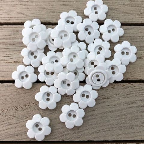 White Daisy 2 Hole Buttons