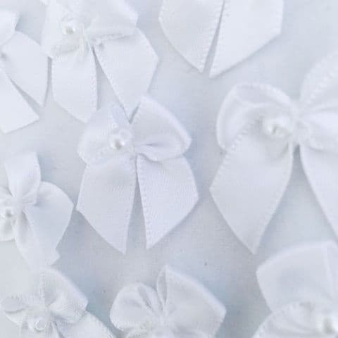White Satin Bow with Pearl