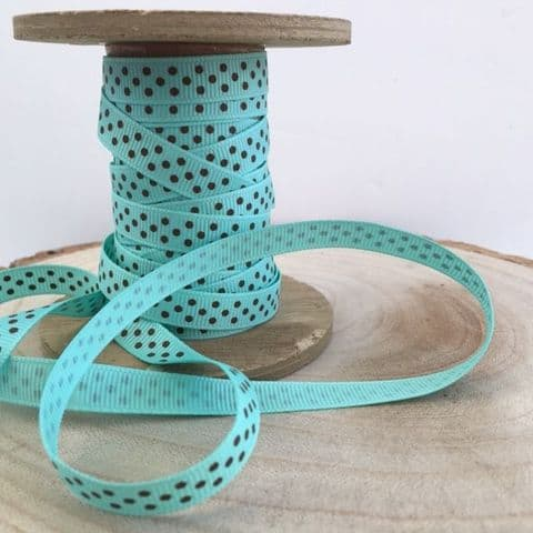 Aqua & Brown Polka Dot Grosgrain Ribbon 9mm