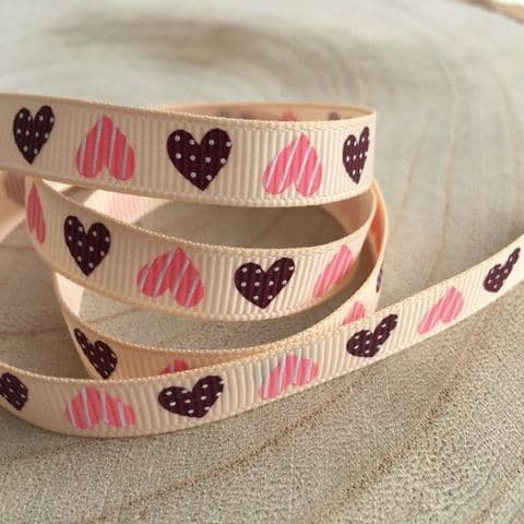 Beige / Red Heart Grosgrain Ribbon 9mm