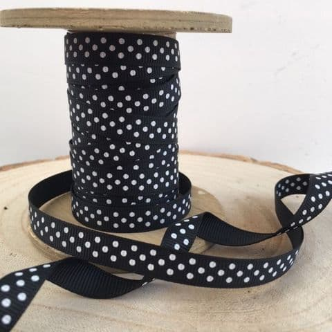 Black & White Polka Dot Grosgrain Ribbon 9mm