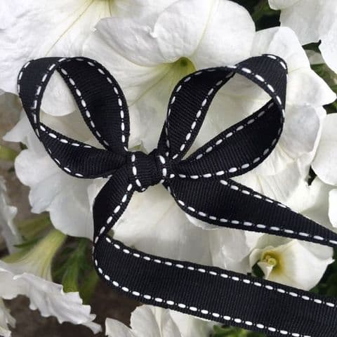 Black  & White Saddle Stitch Grosgrain Ribbon
