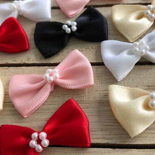 Bow Tie Shaped Satin Pearl Trim Bow