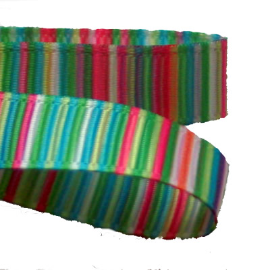 Bright Green Turquoise Blue Pink Striped Grosgrain 9mm - 2 Metres