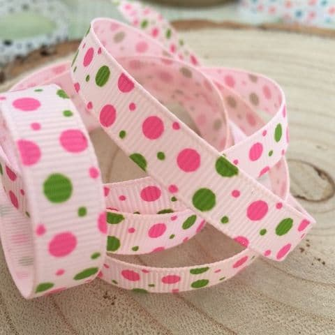 Bright Pink /Green Bubble Dot 9mm Grosgrain Ribbon