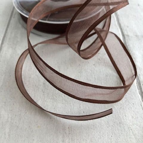 Brown Satin Edged Ribbon