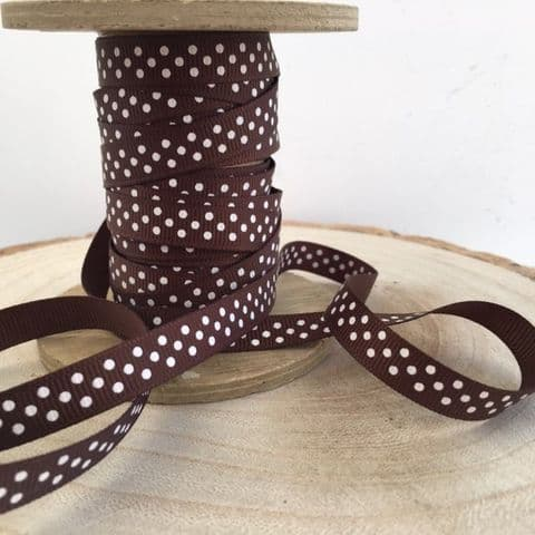 Brown & White Polka Dot Grosgrain Ribbon