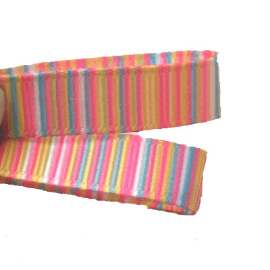 Candy Pink Blue Yellow Striped Grosgrain 9mm Ribbon - 2 Metres