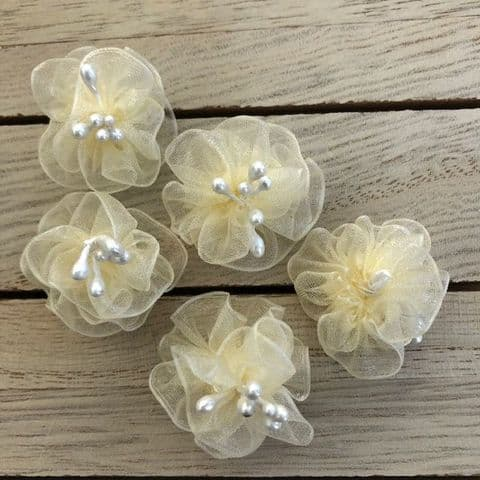 Cream Organza Chiffon Flowers with Pearl Stamens