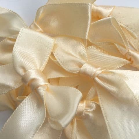 Cream Satin Large 15mm Ribbon Bows