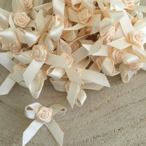Cream Satin Rose Ribbon 7mm Bows