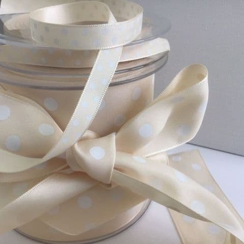 Cream & White Polka Dot Ribbon