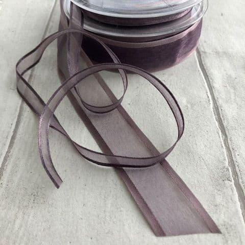 Dark Thistle Satin Edged Organza Chiffon Edged Ribbon