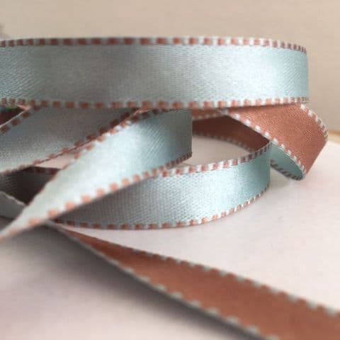 Duck Egg Blue & Mink Brown Reversible Satin Ribbon 9mm