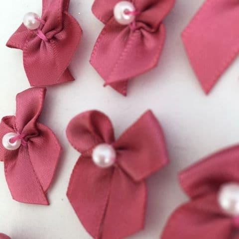 Dusty Rose Pink Satin Bow with Pearl