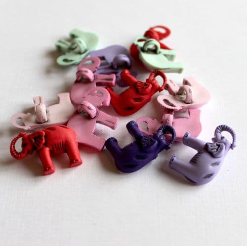 Elephant Shaped Button Assorted Colours