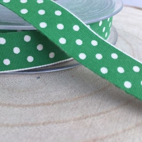 Emerald Green Cotton Ribbon with Cream Spots