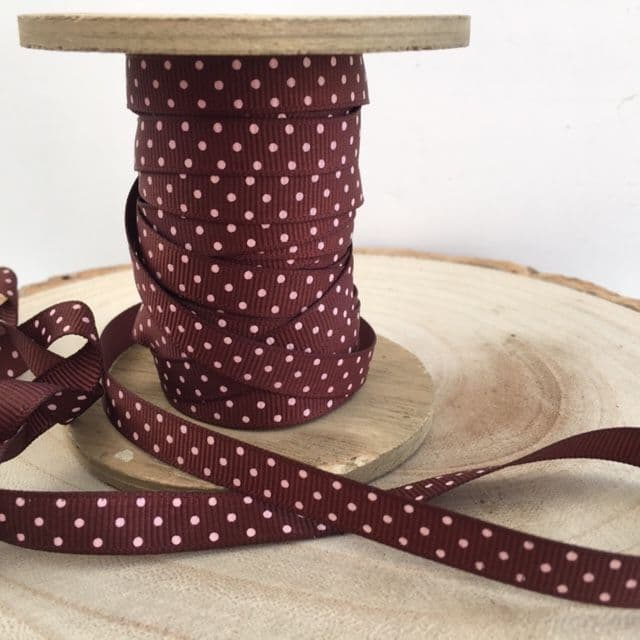 Grosgrain Brown & Pink Polka Dot Ribbon 9mm