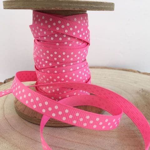 Hot Pink & White Polka Dot Grosgrain 9mm