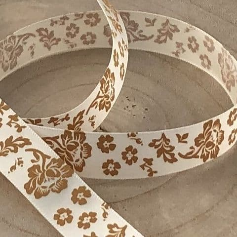 Ivory /Old Gold Satin Rose Ribbon