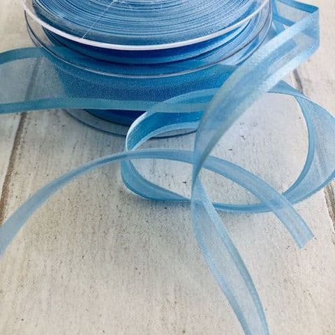 Light Blue Organza Satin Edged Ribbon