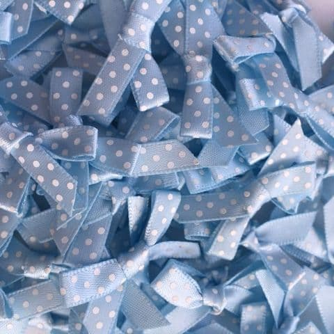 Light Blue & White Polka Dot Bows