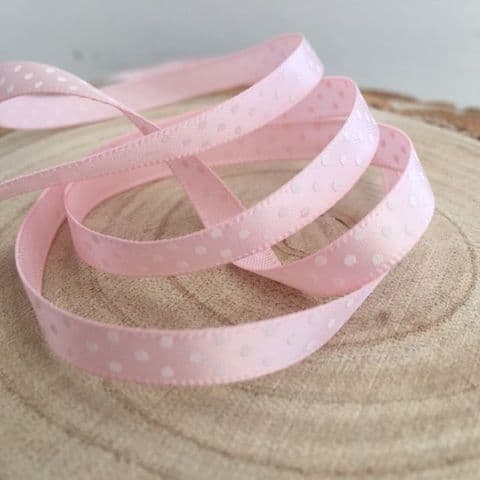 Light Pink & White Satin Polka Dot Ribbon