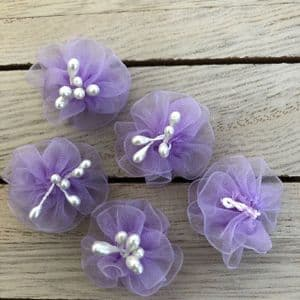 Lilac Chiffon Flowers with Pearl Stamens