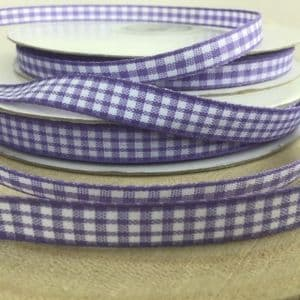 Lilac Gingham Check Ribbon