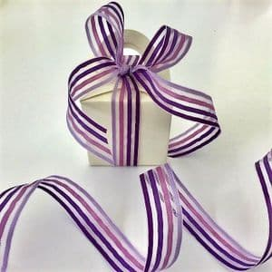 Lilac/Purple  Stripe Satin Mesh Ribbon 16mm - 2 Metres