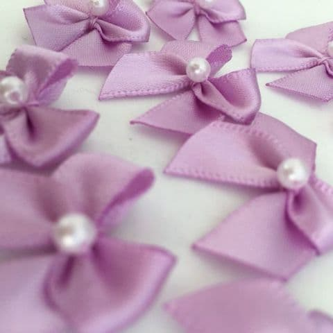 Lilac Satin Bow with Pearl
