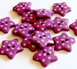 Lilac Star Polka Dot Spotty Buttons