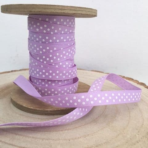 Lilac & White Polka Dot Grosgrain Ribbon 9mm