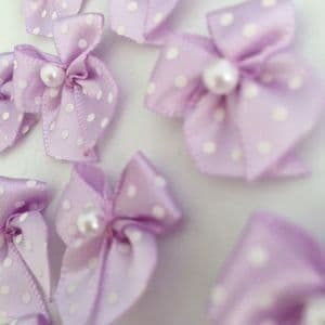 Lilac & White Satin Polka Dot Bow with Pearl