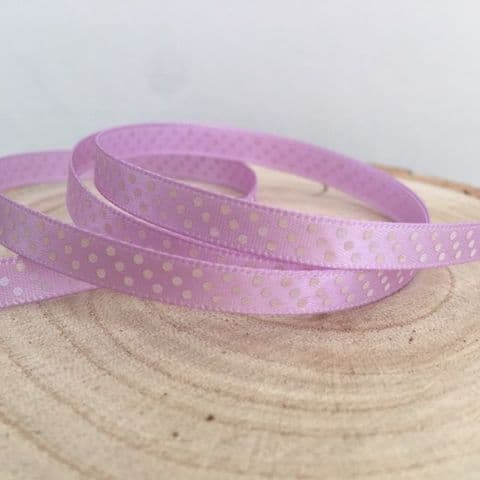 Lilac & White Satin Polka Dot Ribbon