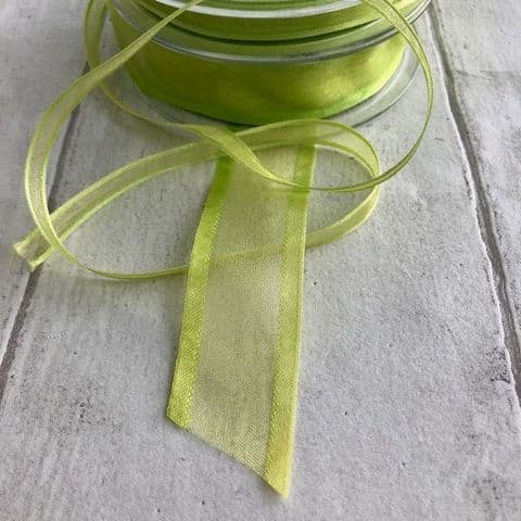 Lime Green Organza Satin Edged Ribbon